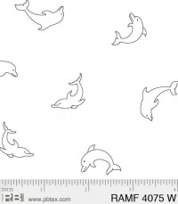 Ramblings Fun DolphinsWhite-on-White - Product Image